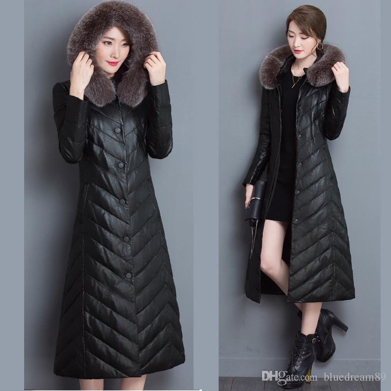 Manteaux d'hiver pour femmes fox fur collar canada down jacket women coat parkas plus long winter coat large size womens cotton luxury coats