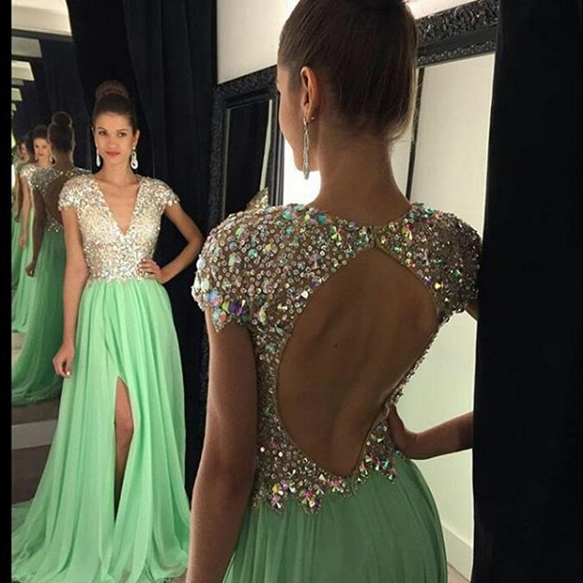 New Stunning Split Evening Dresses 2019 Deep V Neck Cap Sleeve Crystal Backless Sweep Train Green Modest Red Carpet Prom Party Pageant Gowns
