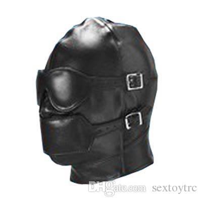 Bondage Gear Full Cover Hood Mask Muzzle Gimp Detachable Faux Leather with Detachable Eye Pad Mouth Gag Fetish Sex Toy