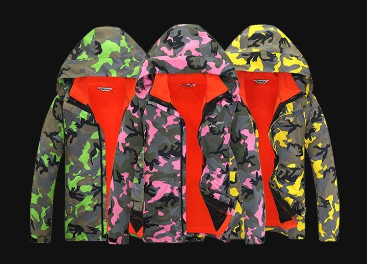 Новый дизайн мужчина женщины открытый водонепроницаемый камуфляж куртка Спорт восхождение куртка туризм / катание на лыжах пальто зима 3 в 1 Куртка