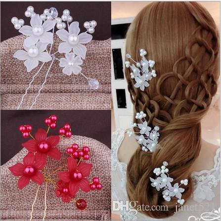Elegant Wedding Bridal Hair Accessories Pearls Orchid U Pins Women Party Head Pieces Bridal Head Pieces