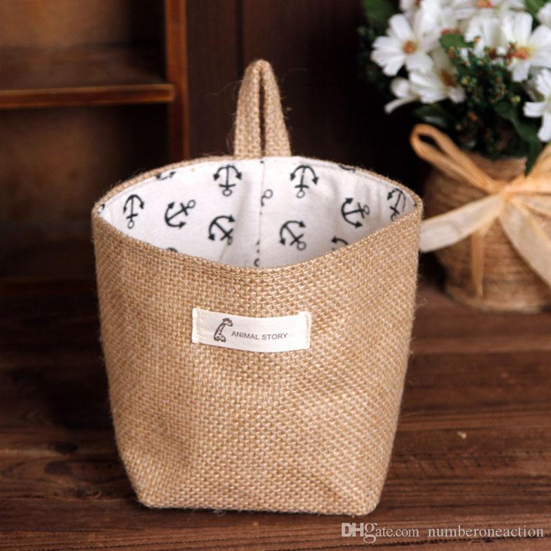 vendite calde Zakka stile scatola di immagazzinaggio iuta con fodera in cotone cesto portaoggetti mini sacchetto di immagazzinaggio desktop appeso 1 pz spedizione gratuita