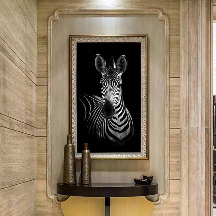 Zèbre moderne imprimé sur toile peinture Cuadros photo paysage animalier peintures à l'huile pour le salon artisanat décoratif pour la maison (pas de cadre)