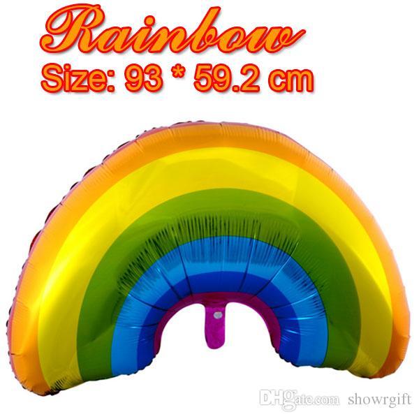 Yeni Gökkuşağı folyo balonlar Doğum Günü partisi malzemeleri Düğün dekorasyon Helyum şişme Bebek duş doğum günü Partisi iyilik 93 * 59 cm 50 adet / grup