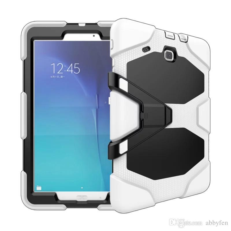 Samsung TABE T560 9.7inch Tablet Askeri Extreme Ağır Hizmet Darbeye HALİNDE İçin Ekran Koruyucu metal çubuğuyla birlikte Kılıf Kapak 10colors Standı