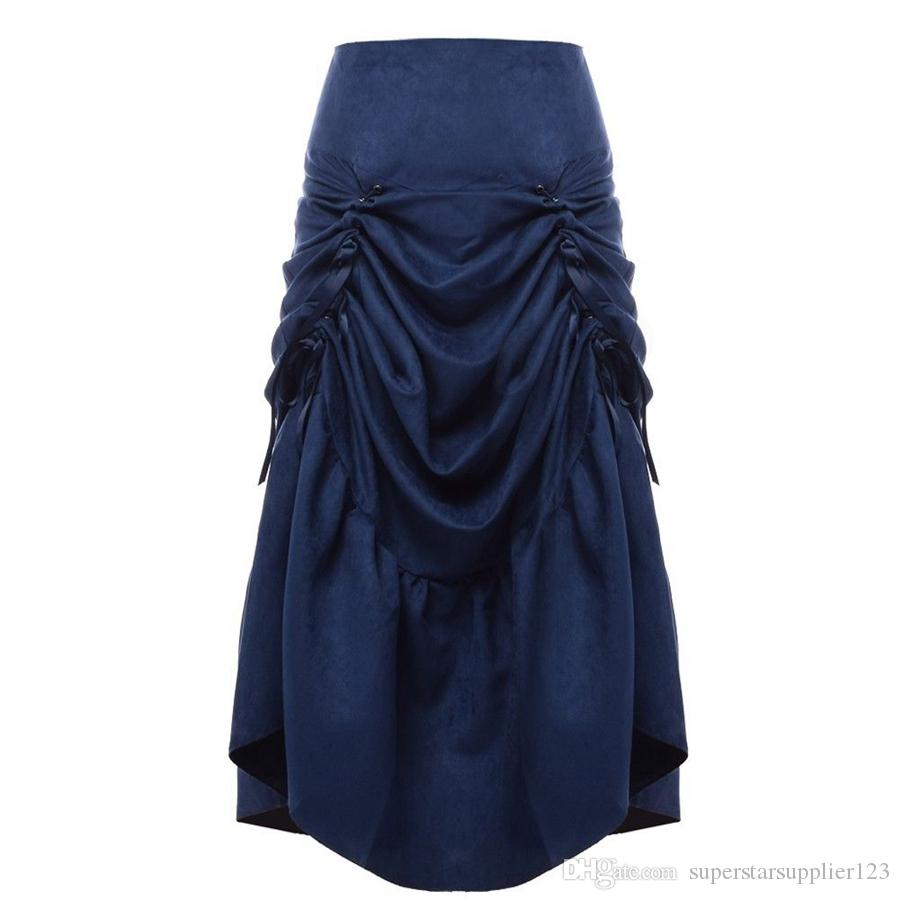 Vintage Gothic Corset Skirt Retro Women's Victorian Steampunk Cosplay Long Ruffle Fishtail Skirt Black/Brown/Blue/Red