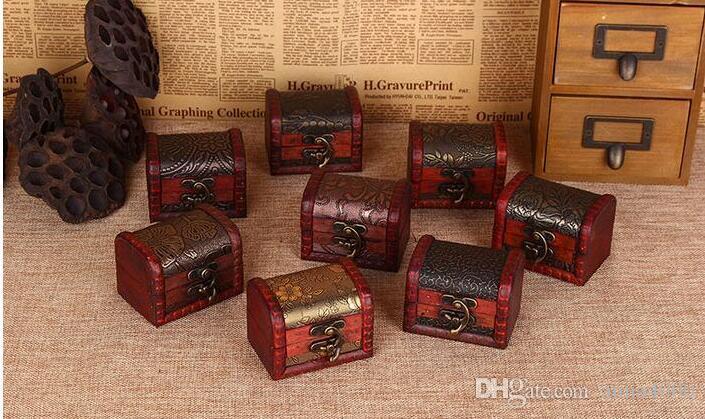 trasporto libero 200pcs contenitore di immagazzinaggio dell'organizzatore dei monili dell'annata Mini contenitore di legno del modello del metallo del contenitore di legno fatto a mano piccolo di legno