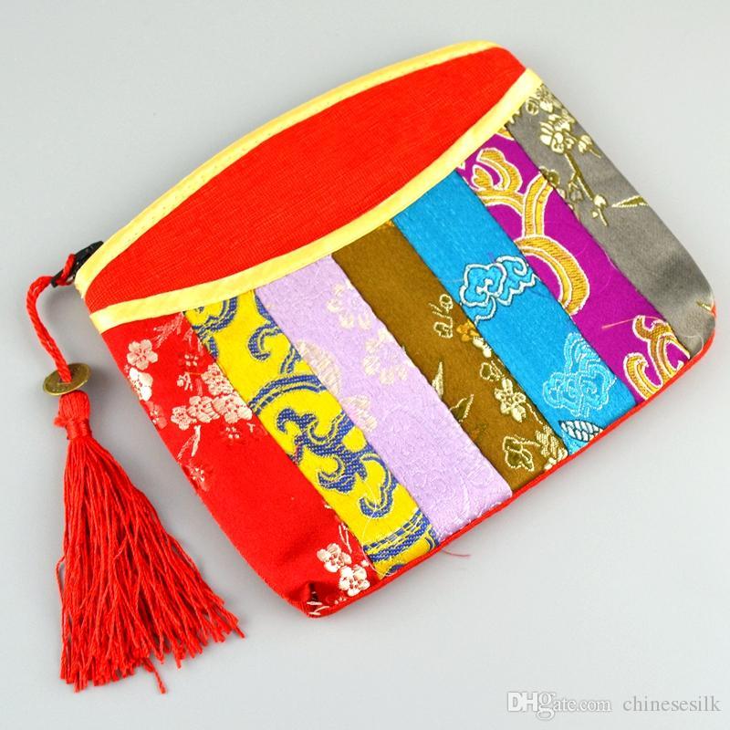 Patchwork broccato di seta zip portamonete gioielli braccialetto regalo sacchetto nappa piccola borsa da viaggio cosmetico donne sacchetto di immagazzinaggio di trucco 2 pz / lotto