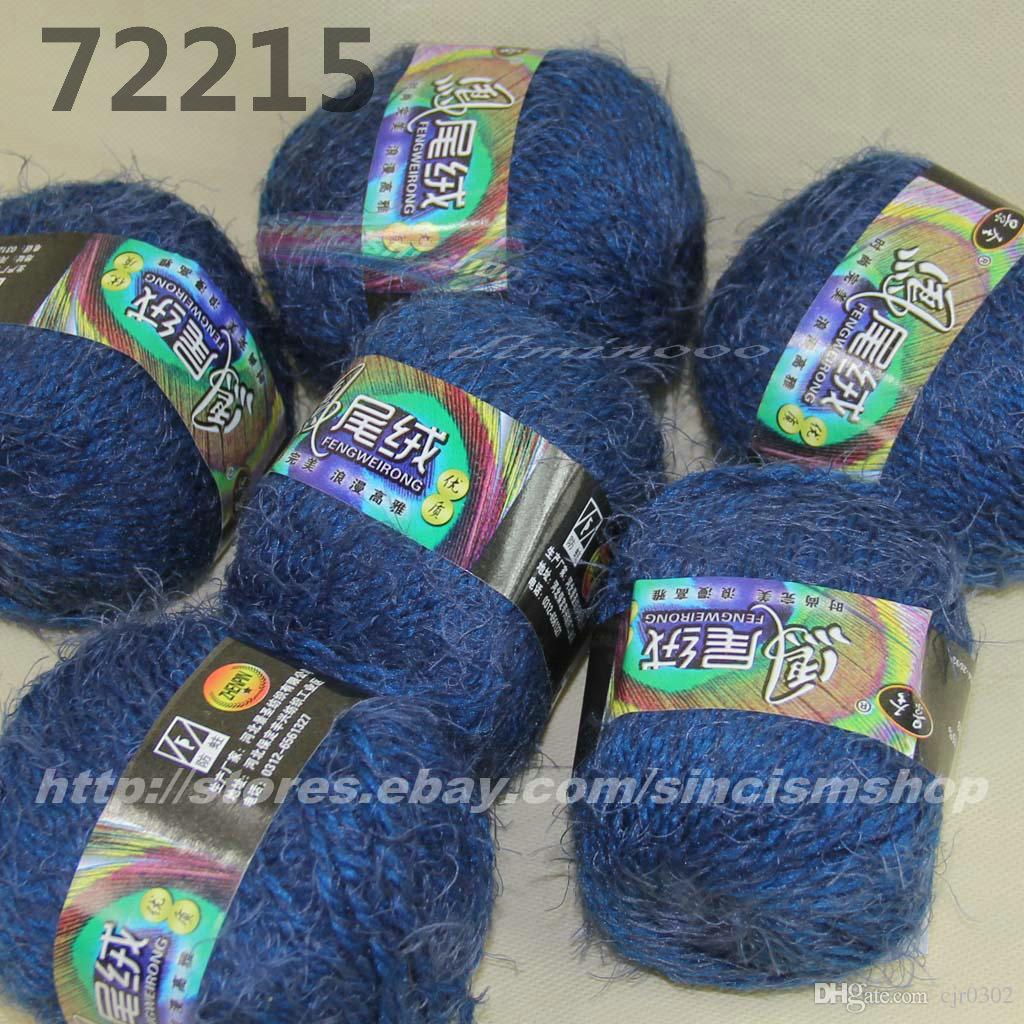Цвет дополнительно 6x50gr мотки мягкие ресницы ручной вязание пряжи темно-синий 722-15