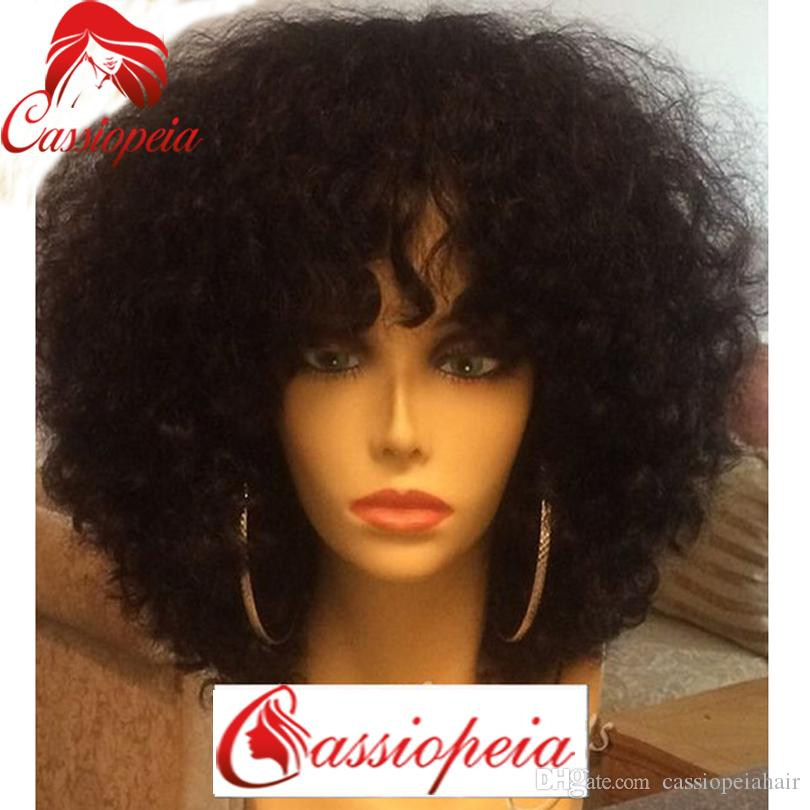 8A Grade Malaysian Afro Kinky Curly Short Human Hair Bob Wigs For Black Women Best Guless Short Curly Lace Wigs with Bamgs