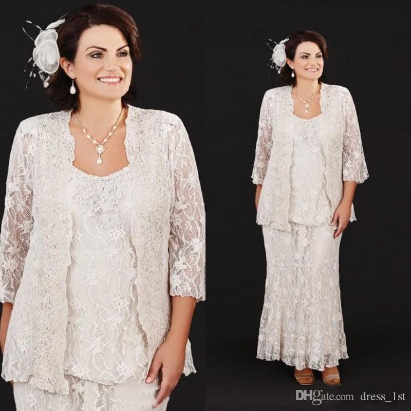 Vintage 2019 Ivory Lace 3 Pieces Mother Of Bride Dresses Long Sleeve Jacket Ankle Length Plus Size Dress For Mother of The Groom