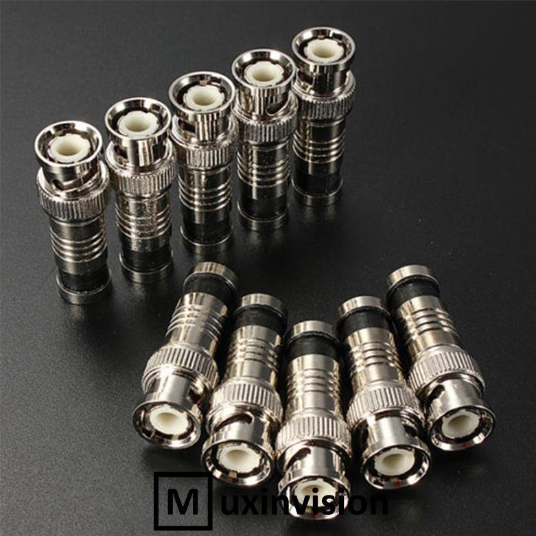 10Pcs BNC Compression Connector RG59 CCTV Camera Coax Cable Adapter Coaxial Male