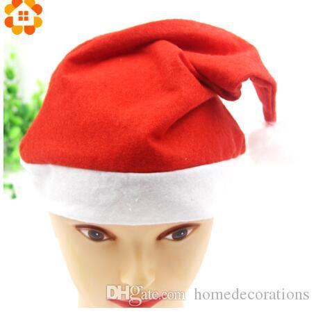 Moins cher 2 Tailles De Noël Chapeau De Noël Chapeau Rouge Chapeaux Pour Les Décorations De Noël Costume De Père Noël Fournitures De Fête De Noël