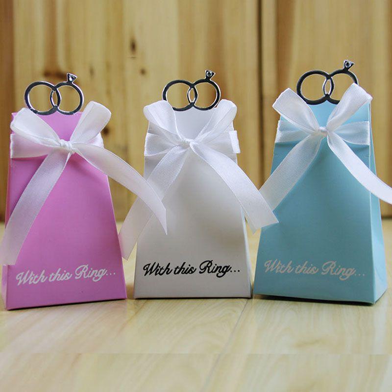 Blue Diamond Ring Bomboniera Bomboniera Scatole regalo di carta nastro Casamento Forniture per feste evento ZA4523