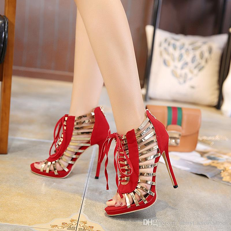 f29beee1 ... Black Red Gold Straps Cut Out Women Gladiator Sandals Open Toe Lace Up  High Heels Ladies ...