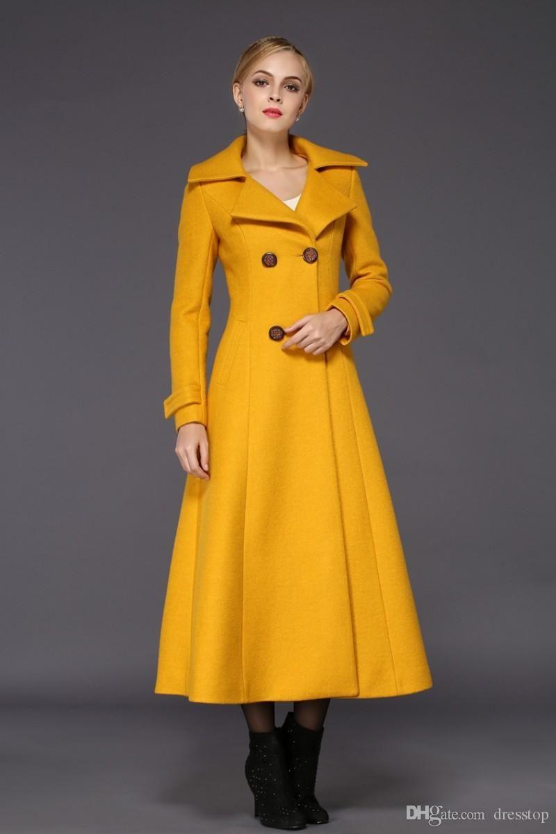 d44160ae0aa8 Compre Abrigos De Invierno Largos Para Mujer De Las Mujeres Amarillas  Largas Para Las Mujeres Chaqueta De Las Señoras De La Mezcla Del Ajuste  Delgado ...