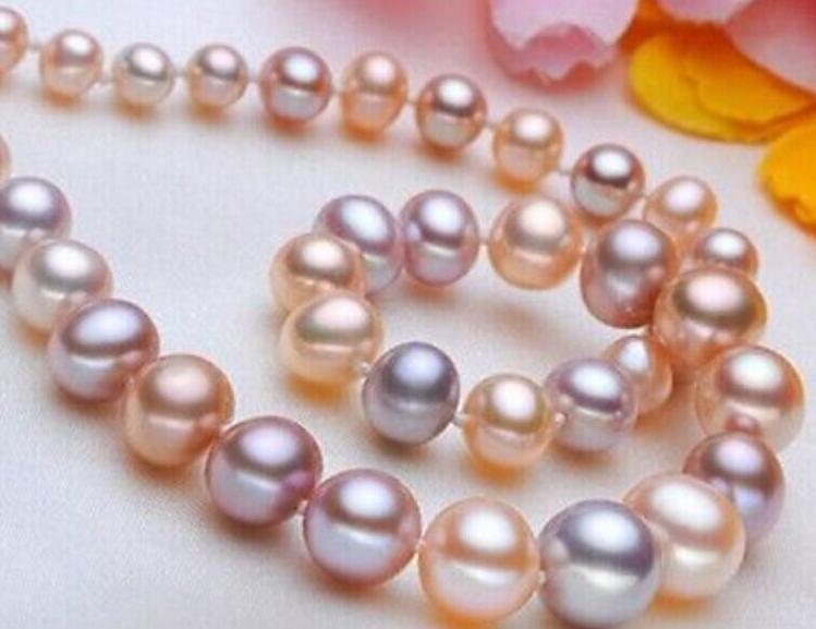 Charming 9-10mm natürliche südseen rosa lila Perlenkette 18inch 14-karätigem Gold Spange