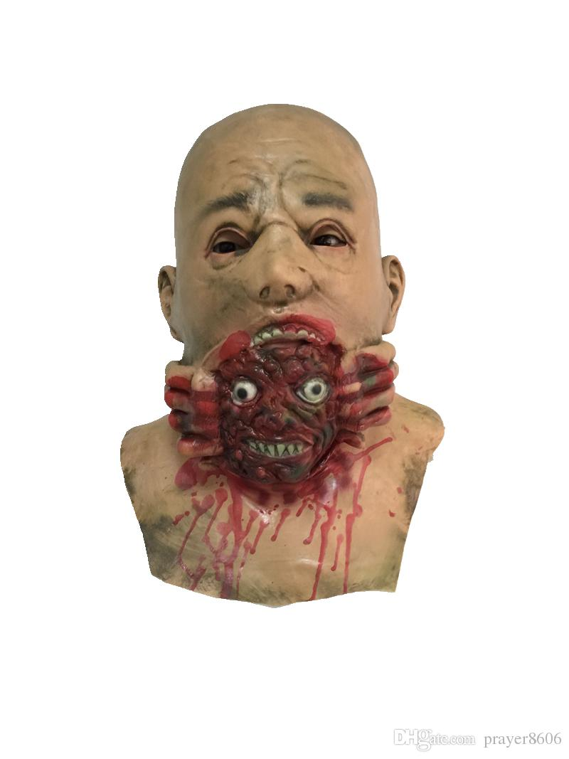 Horror Demons Head Devour Mask Scary Macka Monster Latex Masks for Adults Halloween Cosplay Costume Adult Full Face All Party Free Shipping