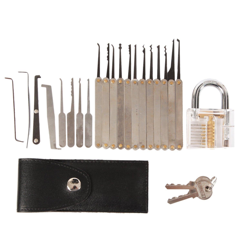 15pcs Unlocking Lock Pick Tool Hook Lock Picks Locksmith Tools + 5pcs Lock Picking Tools Sets with Transparent Practice Padlock Locks