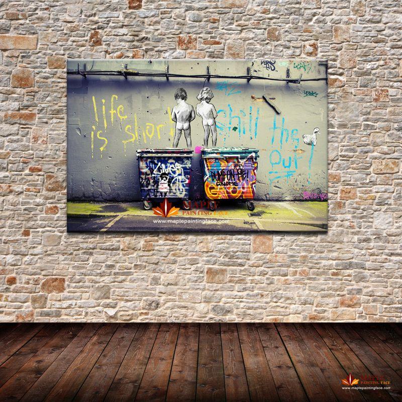 Acheter Banksy Art Life Est Court Chill The Duck Out Pas Cher Moderne Toile Art Décoration Murale Art Peinture Grand Mur Photo De 14 9 Du