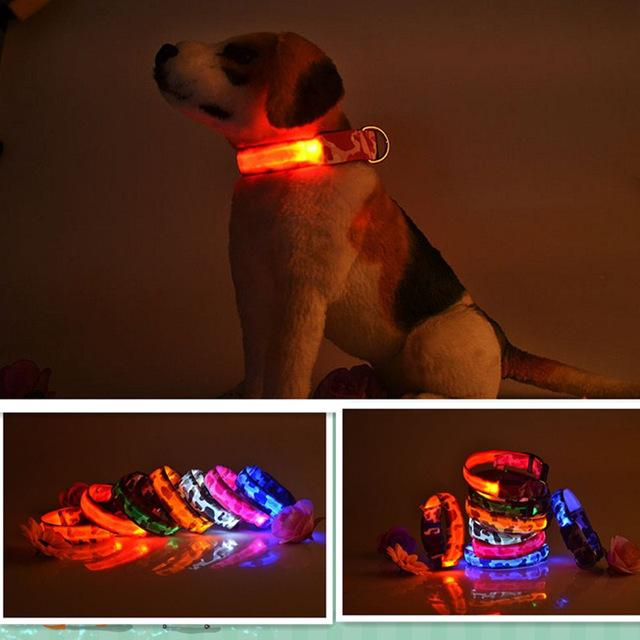 2015 New Pets Dog LED Lights Leads Leopard Flash Night Safety Waterproof Collar Adjustable