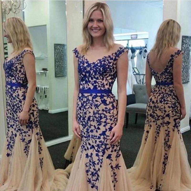 Encanto Champagne Royal Blue Mermaid Prom Prom Desfile de vestidos formales Personalizado Con cuello en v Longitud larga Ocasión Vestido de fiesta