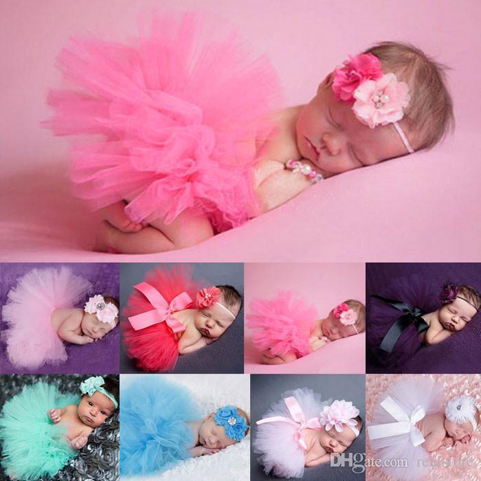 Heiße Verkäufe Neugeborenes Kleinkind Baby Mädchen Kinder Tutu Röcke Kleider Stirnband Outfit Phantasie Kostüm Garn Niedlich viele Farben