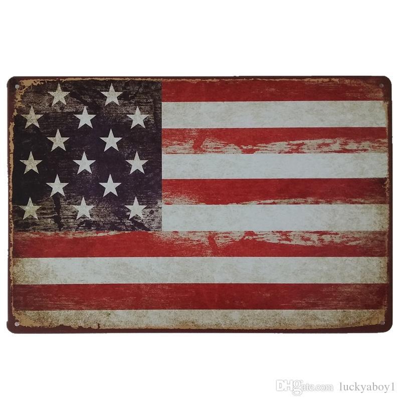 USA Flag Retro rustic tin metal sign Wall Decor Vintage Tin Poster Cafe Shop Bar home decor