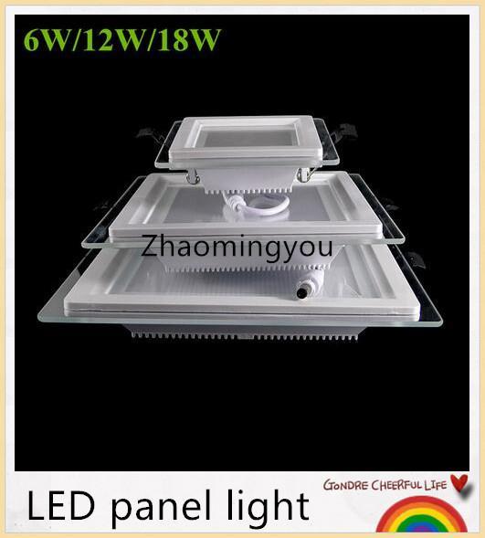 20pcs 6W 12W 18W Dimmable LED lumière du panneau de verre carré conduit encastrés plafond éclairage encastré Lampes à puce Episar SMD5730 AC85-265V