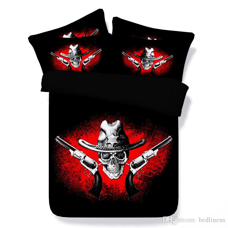 Fashion Style Halloween Black Red Gun Skull 3D Printed Bedding Sets Twin Full Queen King Size Bedspreads Duvet Covers Pillow Shams Comforter