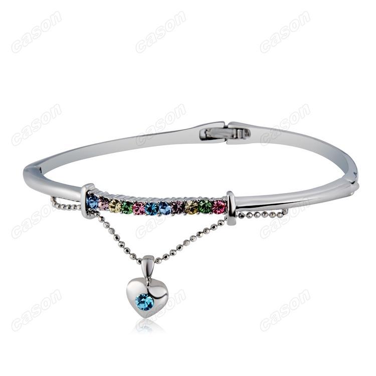 Marka Cason Yeni Moda kadınlar takı Renk Kristal Kalp Kolye bilezik Imitasyon Rodyum kaplama gümüş renk drop shipping BGJ-0001