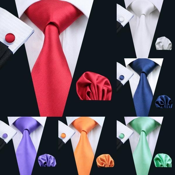 20Color Solid Mens Tie Set Classic Silk Jacquard Geweven Groothandel Stropdas Heren Tie Set Hanky Manchetknopen