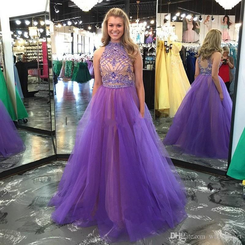 페르시 크리스탈 바닥 롱 2019 두 조각 공식 파티 행사의 드레스를 아름다운 섹시한 키홀 위로 선 저녁 선발 대회 드레스 높은 목