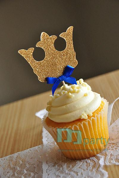 Wholesale  12pcs Handmade Blue Crown Cupcake Toppers,Royal Prince Baby  Shower Decorations,boy