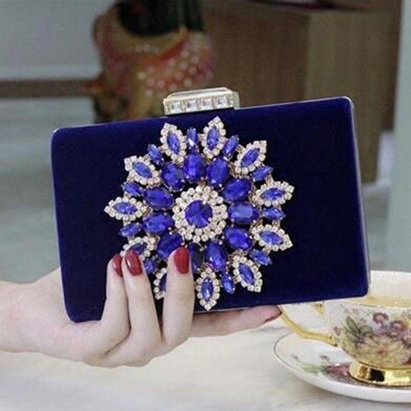 2016 Lady Royal Blue Evening Bags Party Dress Handbags Sparkly Crystas Beaded Shoulder Bags Clutch Amazing Bridal Wedding Mini Purse
