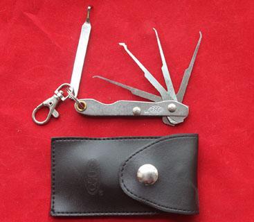 Alta qualidade barato Bloqueio de Bolso goso dobrável 4-em-1 único gancho ferramentas jackknife serralheiro ferramenta bolsa de couro