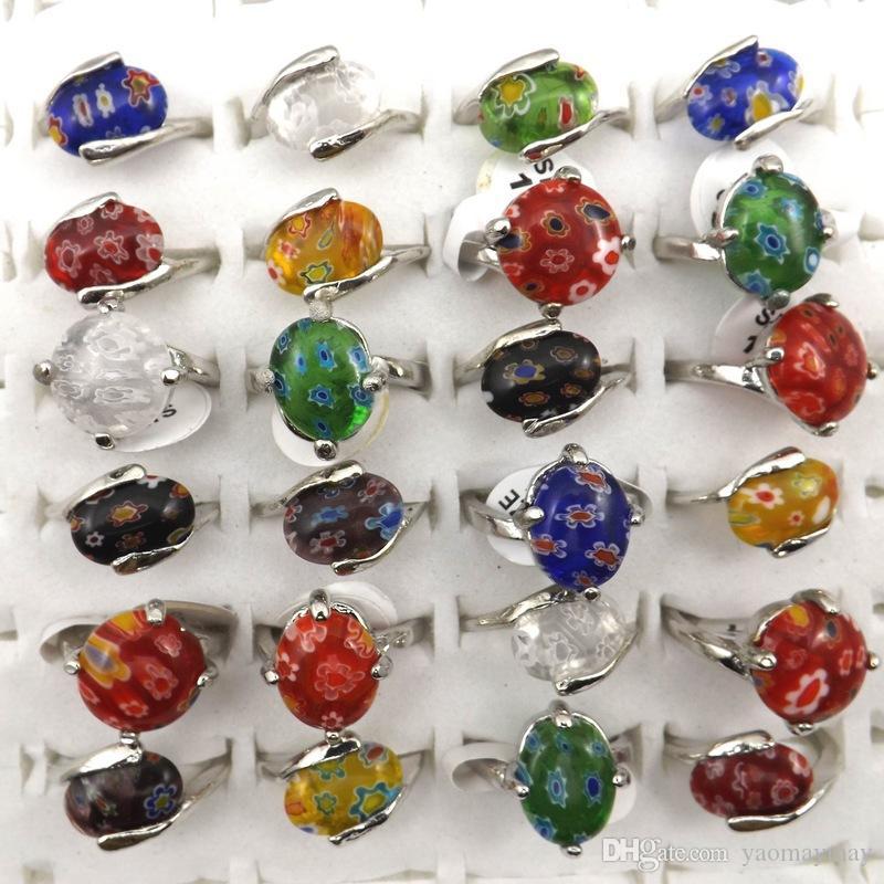 Mix Lot Wholesale 50pcs Fashion Flower Murano Glass Rings Women's Jewelry Free Shipping