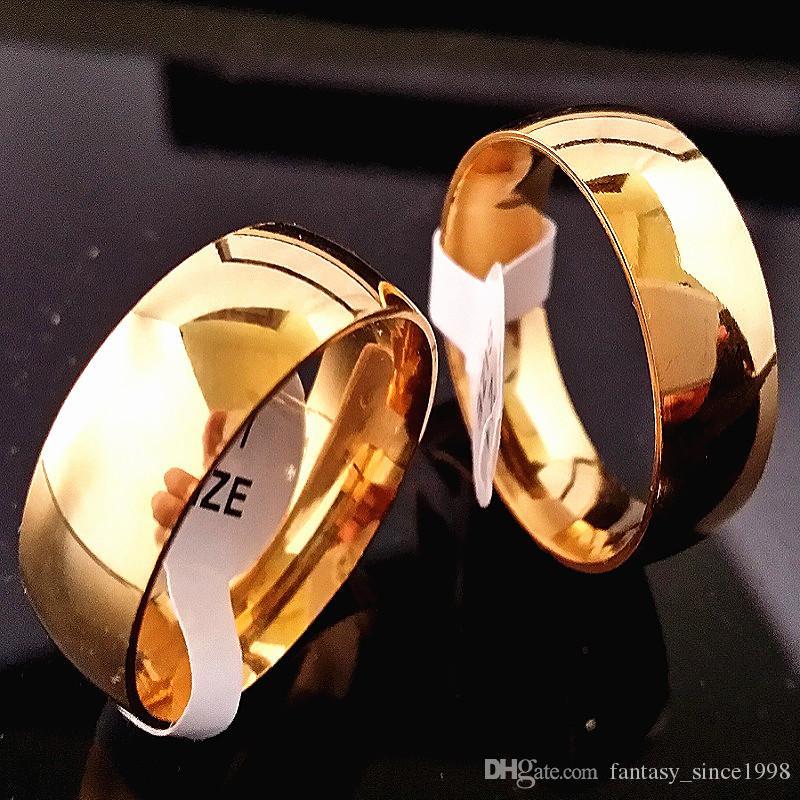 i lotti all'ingrosso all'ingrosso 50PCS dei monili della fascia dell'acciaio inossidabile delle donne degli uomini lucidati 8mm dorati brandano nuovo
