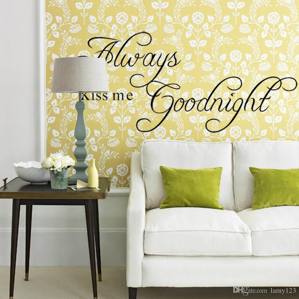 2016 Diy Always Kiss Me Goodnight English Letter Quote Wall Stickers ...