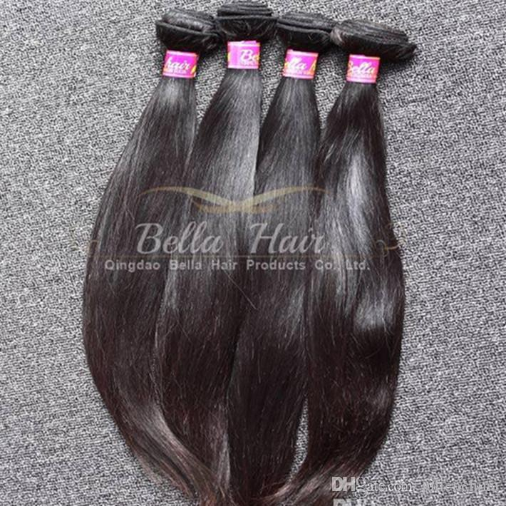 9A Populär Peruvian Hair Extensions Double Weft Naturlig färg Rak mänskligt hår 2st / Lot Mixed Length Hårbuntar Gratis frakt