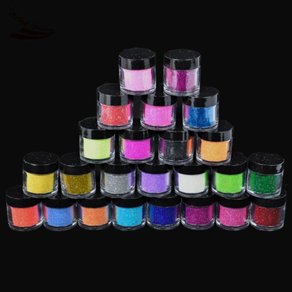 Новый 24PCS / комплект Металл Блестящая пыль Блеск для ногтей Nail Art Powder Tool Kit Акриловые УФ Макияж