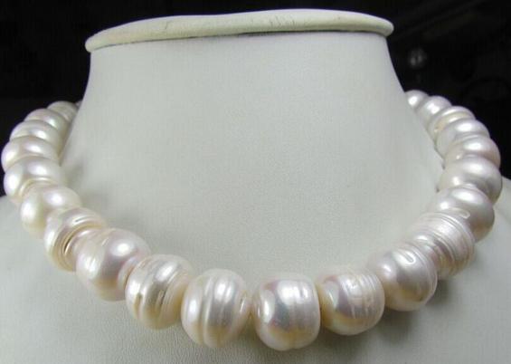 Commercio all'ingrosso 12-13mm south sea bianco barocco collana di perle 18inch 14 k fermaglio in oro