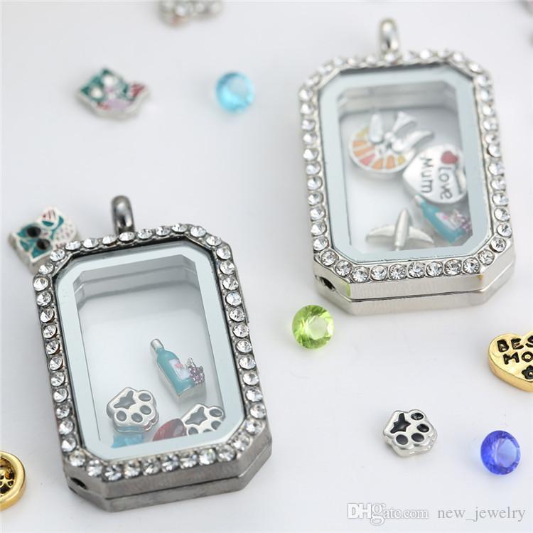 Moda retângulo medalhão de vidro pingentes Colares memória medalhões de vida magnética flutuante charme medalhão com cristais de Strass