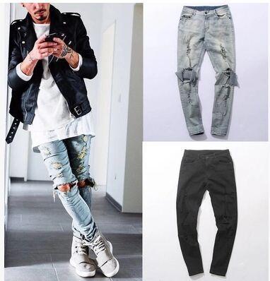 Giyim tasarımcısı pantolon Sıkıntılı Sıska Yırtık Kot Erkek Büyük Delik Diz Üzerinde Swag Streetwear Giysi Yok Denim Pantolon