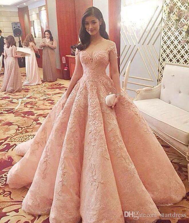 Luxury Pink Prom Dresses Vestidos De Fiesta Off The Shoulder Short Sleeve Lace Appliques Beaded A-line Modern Quinceanera Dresses