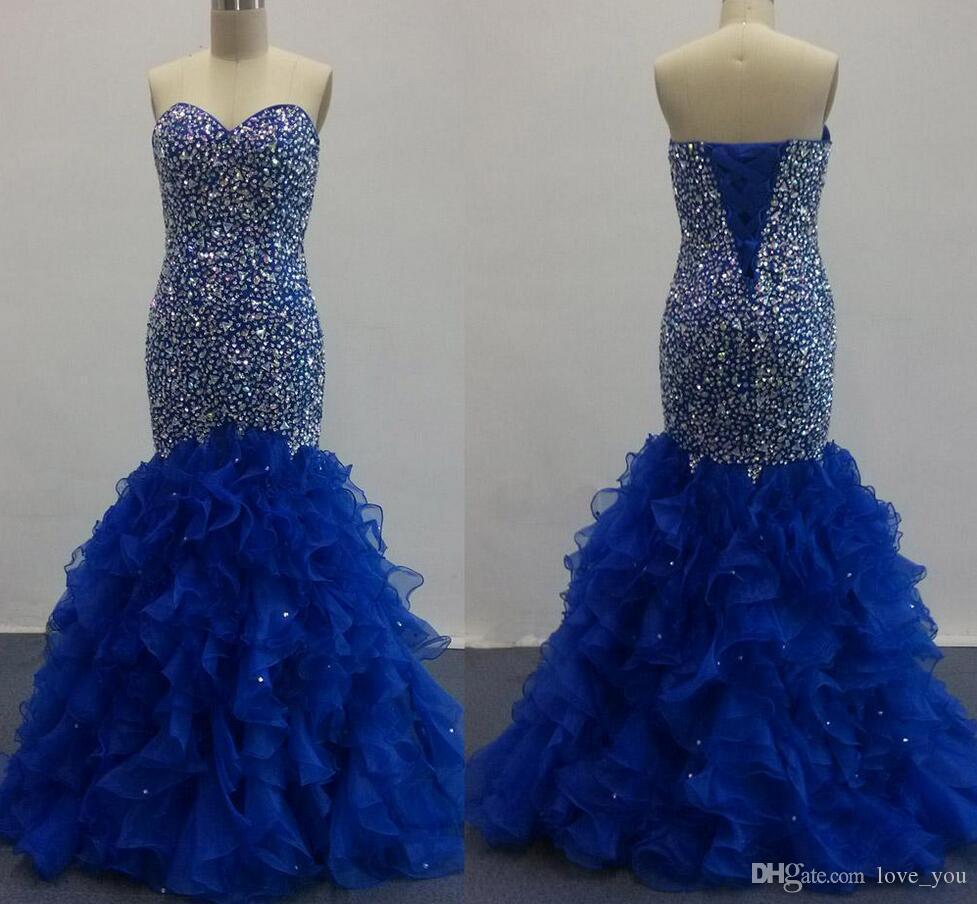 Imágenes reales Royal Blue Prom Dresses sirena con blusa de cuentas de cristal con volantes de tul Organza vestidos de noche