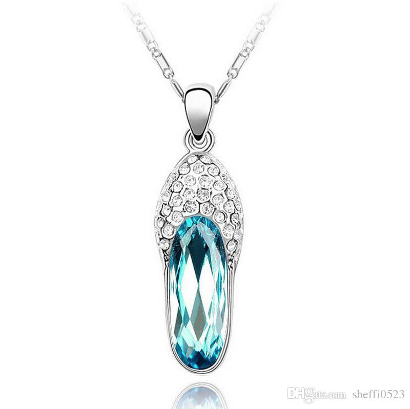 Австрия Кристалл тапочки Ожерелье для женщин лучший подарок ювелирных изделий мода высокое качество сплава ожерелья 12 шт. мин заказ B127