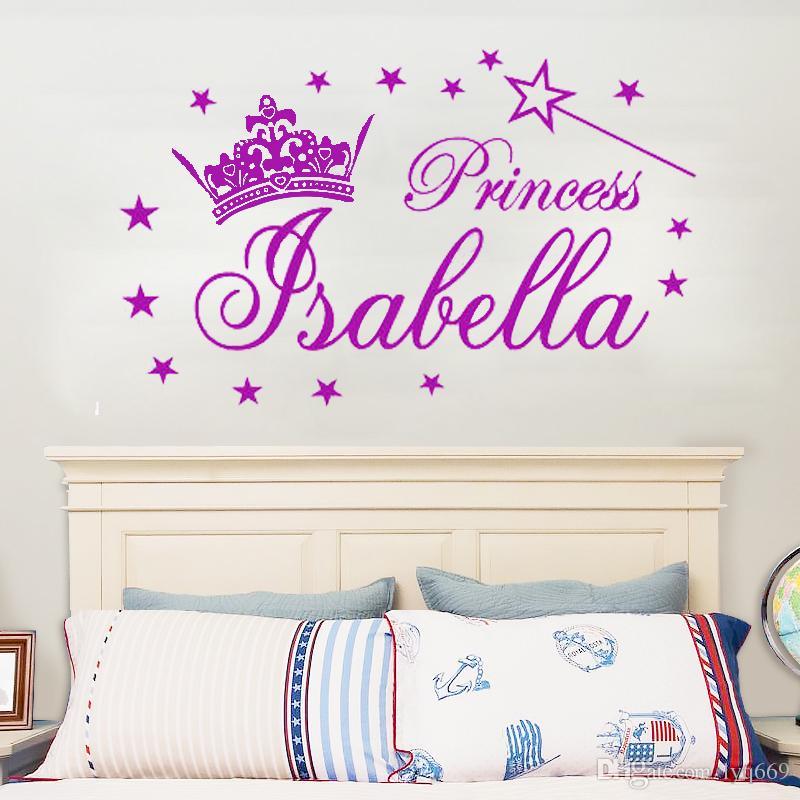 Personalized Name Princess Tiara Magic Wand Girl Wall Stickers Decals Vinyl  DIY Girl Bedroom Wall Sticker Kids Room Decor Wall Decals For Home Wall ...