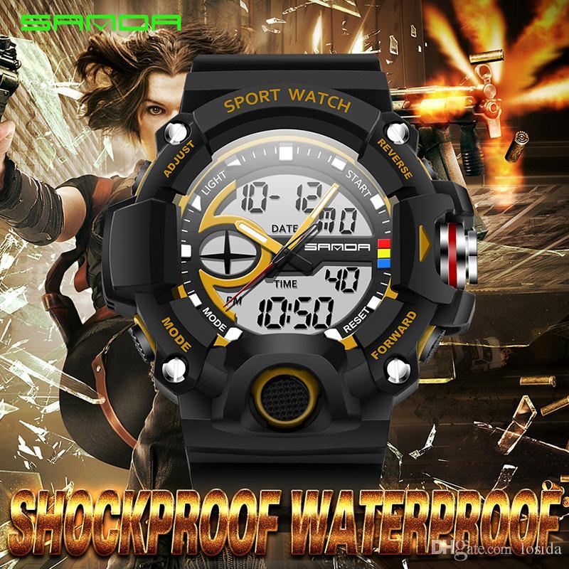 Wholesale Sanda New Brand China Gift Items Mens Multifunction Quartz Sports  Military Digital Clock Alarm Back Light Relogio Masculino Online Watch Buy