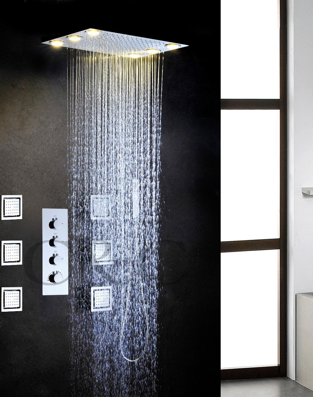 2019 Large Water Flow Rainfall Bathroom Led Shower Faucet Set Alternating Current Led Yellow Lamps Rainfall Shower Head 008 50x36l 6mf From Tonylin65